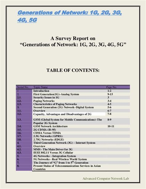 Research Paper On 5g Wireless Technology by Generations Of Network 1 G 2g 3g 4g 5g
