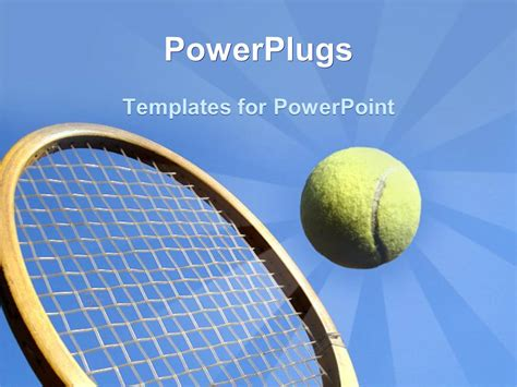 Powerpoint Template Close Up Shot Of A Wooden Tennis Racket Hitting A Tennis Ball 13310 Tennis Powerpoint Template