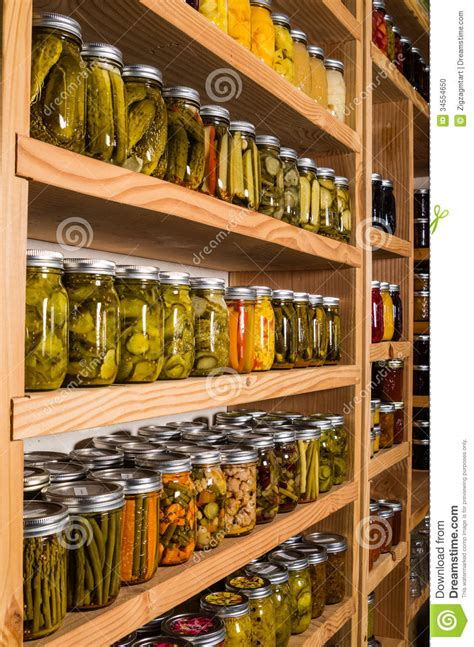 storage shelves  canned goods stock photo image