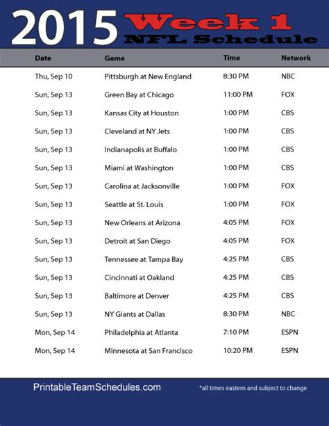 printable nfl schedule for week 2 image gallery nfl week 1 2016