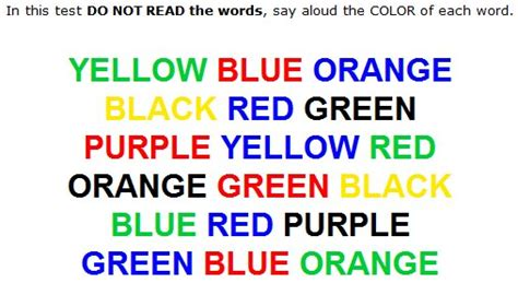 color word test for extremely loud and incredibly