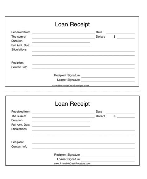 loan receipt agreement template 23 payment receipt formats sle templates