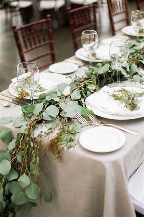picture of stunning greenery wedding table runners 39