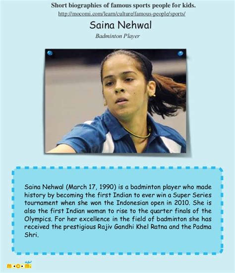 biography of famous people saina nehwal famous sports people for kids