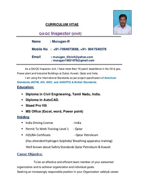 Civil Inspector Sle Resume by 100 Qa Qc Inspector Resume Sle 100 Qc Chemist Cover Letter 100 Qa Tester Resume Resume Cv