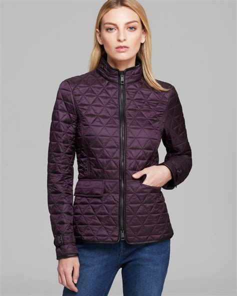 burberry brit laycroft quilted jacket in purple lyst