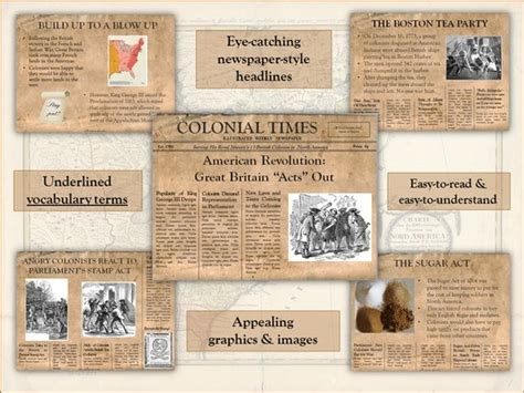 revolutionary war newspaper template american revolution great britain quot acts quot out powerpoint