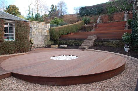 deck firepit hardwood deck built to surround a pit