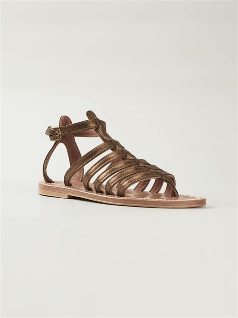brown gladiator sandals k jacques gladiator sandals in brown lyst