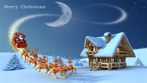 christmas santa claus rides wallpaper