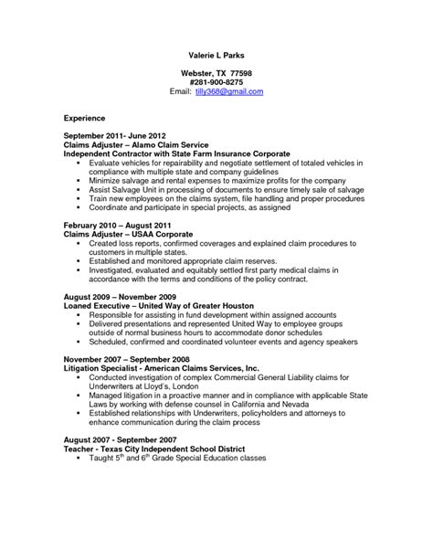insurance claims adjuster resume sle perfect resume