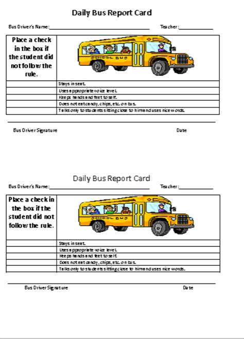 bus card template the speech ladies daily bus report cards