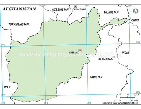 Afghanistan Country Map Outline by Buy Afghanistan Outline Map Green Color