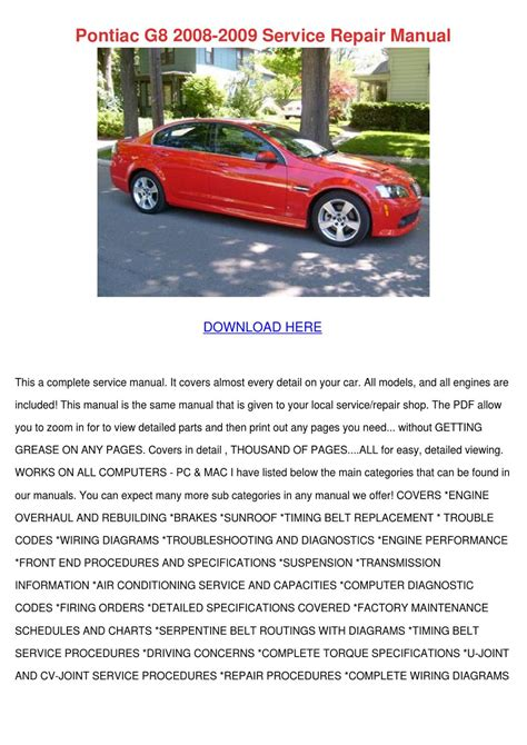 car repair manuals online pdf 2008 pontiac g5 interior lighting pontiac g8 2008 2009 service repair manual by patricia dimuccio issuu