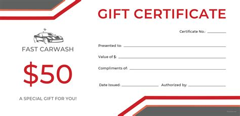 car wash gift card template free carwash gift certificate template in adobe