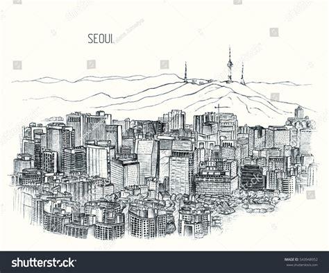 sketchbook korea seoul skyline south korea stock illustration
