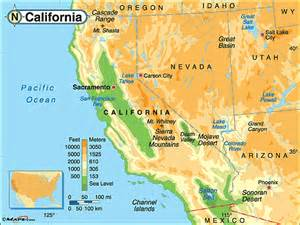 california physical map by maps from maps world