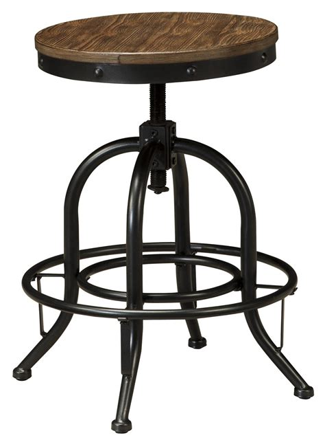 wood swivel stool signature design pinnadel d542 224 swivel stool