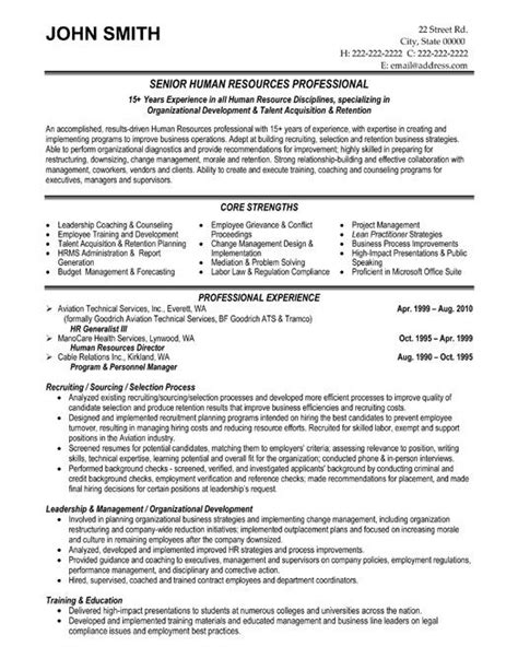 Resume Sle For Hr Trainee 15 Best Images About Human Resources Hr Resume Templates Sles On Professional