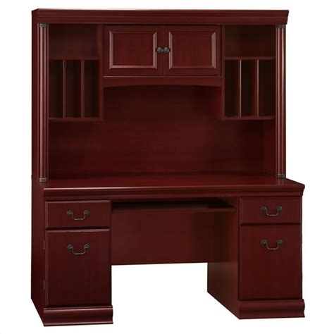 Bush Birmingham Wood Credenza W Hutch Harvest Cherry Cherry Wood Desk With Hutch