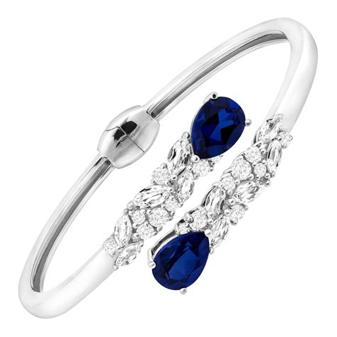 8 1 10 ct blue white created sapphire bypass cuff in