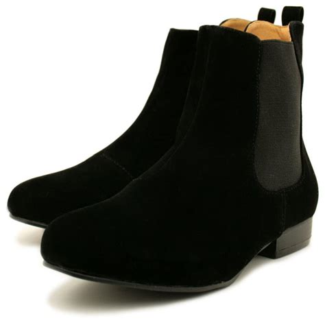 flat suede shoes womens black suede style chelsea flat ankle boots from