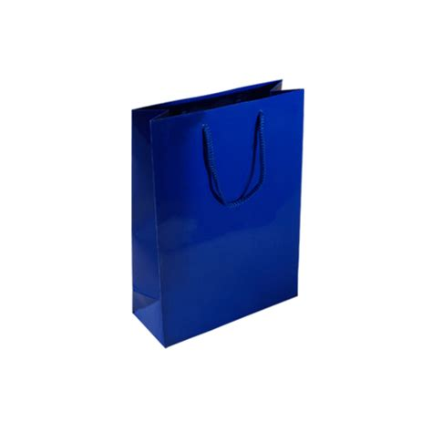 light blue paper gift bags pbl84sg small royal blue gloss laminated paper gift bags
