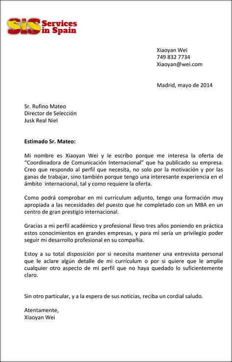 Modelo De Carta De Presentacion De Curriculum En Ingles Sle Letter Servicesinspain