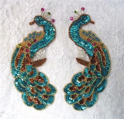 peacock applique 0167 turquoise peacock pair sequin beaded appliques