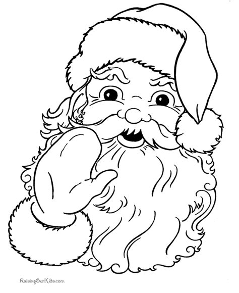 printable xmas pictures christmas coloring sheets of santa claus