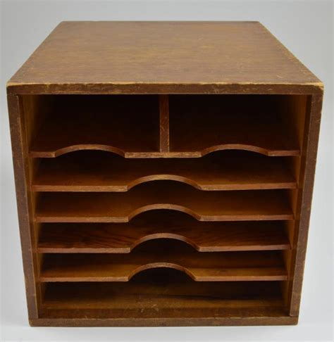 Vintage Handmade Wood Desktop Mail Organizer With Dovetail Wooden Desk Top Organizers