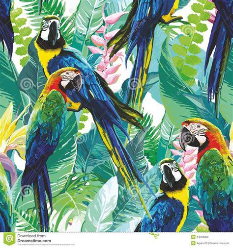 afbeelding bloemen met dier kleurrijke papegaaien en exotische bloemen vector