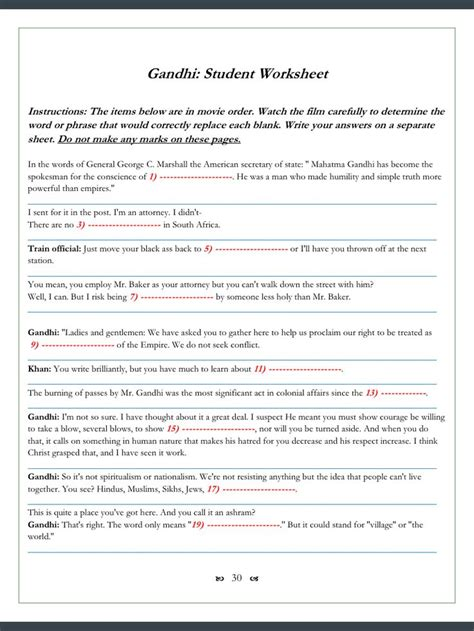 gandhi biography for middle school gandhi movie worksheets 123 cloze fill in problems