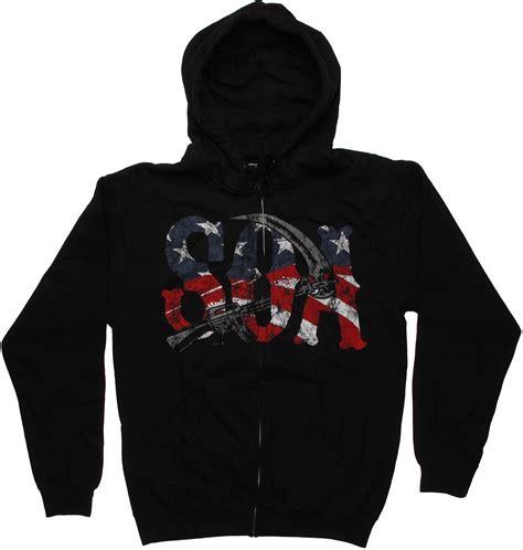 Hoodie Zipper Anarchy Zemba Clothing Sons Of Anarchy Soa Reaper Flag Zip Hoodie