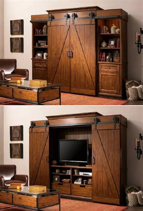 open  barn doors   entertainment center  close