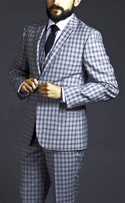 test pattern suit two button three piece black windowpane plaid pattern suit