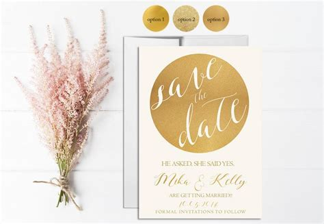 gold save the date invitation printable wedding save the