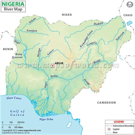 world map showing lakes rivers of nigeria