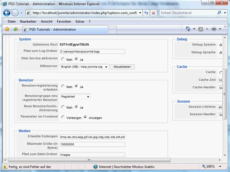 tutorial about joomla joomla konfigurieren joomla cms tutorials de