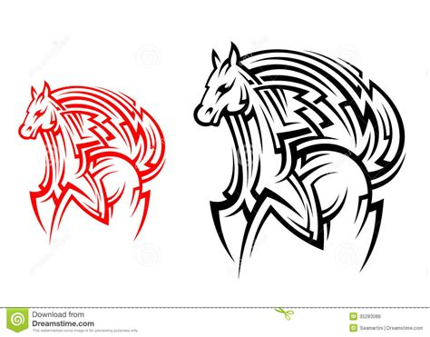 tribal horse tattoo stock vector image of insignia