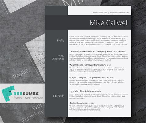 modish and freebie stylish word resume template