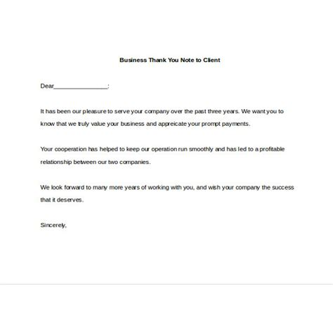 thank you letter from business to client 7 business thank you notes free sle exle format