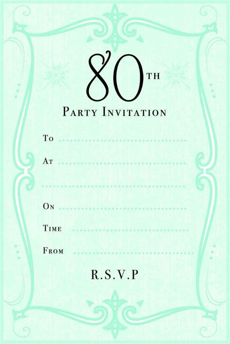 invitation cards for birthday template green 80th birthday invitation jpg 585 215 873 80