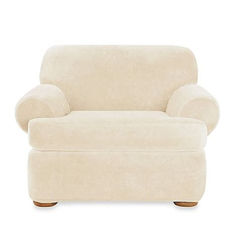 2 piece t cushion chair slipcover sure fit 174 stretch plush 2 piece t cushion chair slipcover