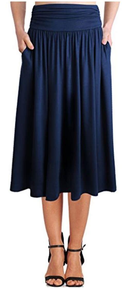 womens rayon spandex high waist shirring flared skirt with
