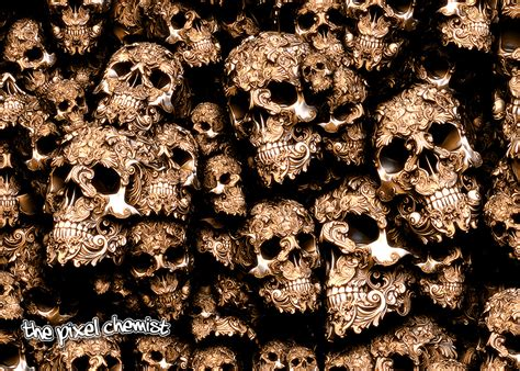 Gold Skull Wallpaper by Decorative Skulls In Gold And Silver Up By