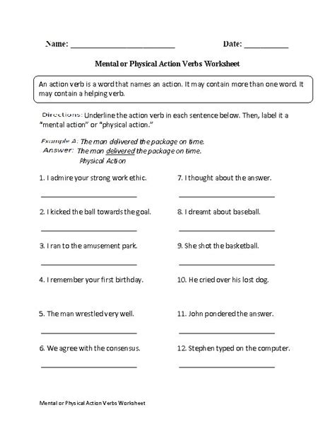 mental or physical verbs worksheet grammar punctuation verbs