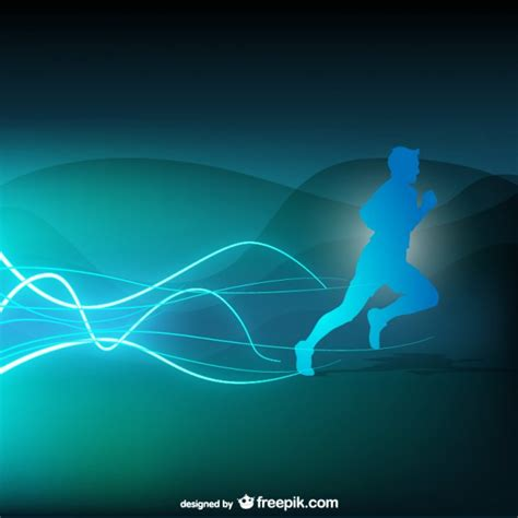 Abstract For Fitness Running 1 blue runner silhouette background vector free
