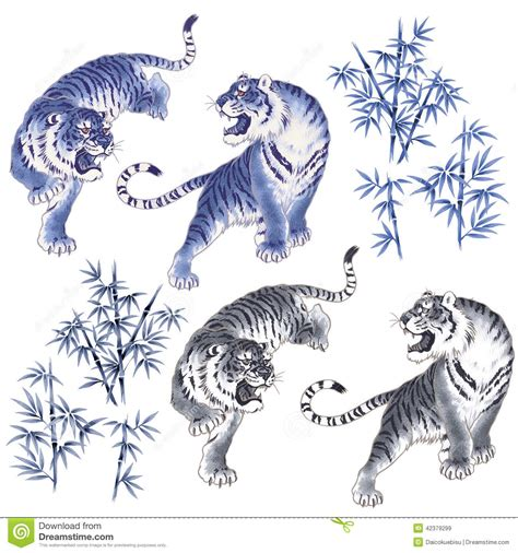 japanese tiger stock illustration image 42379299