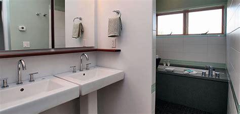 Modern Sinks For Small Bathrooms - lee edwards residential design modern bathroom design with double pedestal sinks ipe shelf